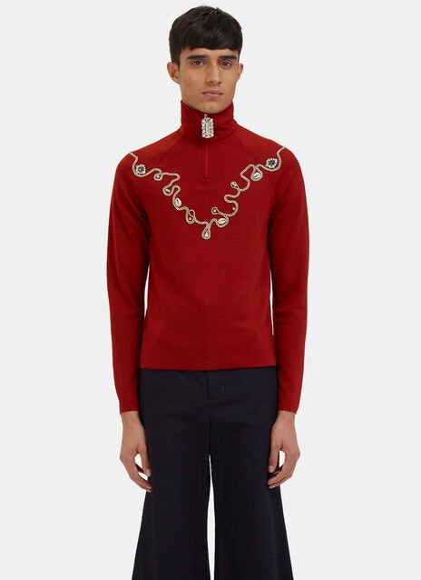 Karim Jewel and Shell Embellished Zip-Up Track Top