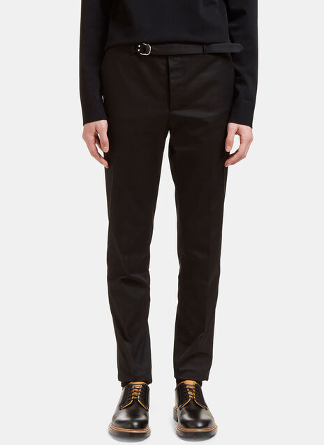 Belted Slim Leg Technical Twill Pants