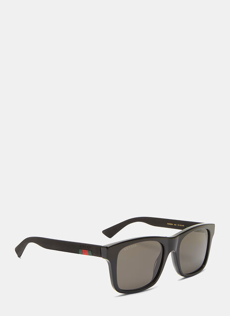 Rubberised Arm Squared Sunglasses
