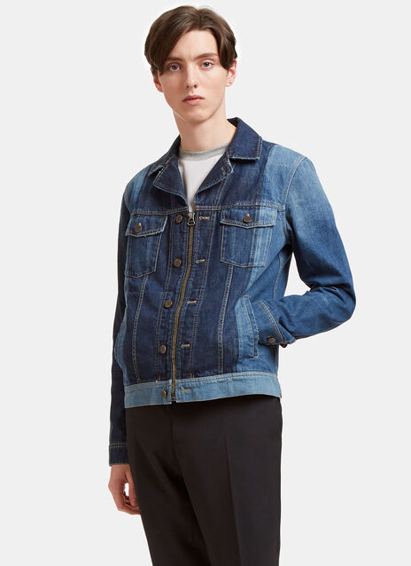 Two-Tone Zip-Up Denim Jacket