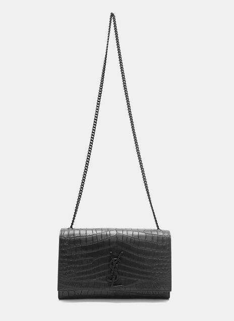 Kate Monogram Faux Crocodile Crossbody Bag