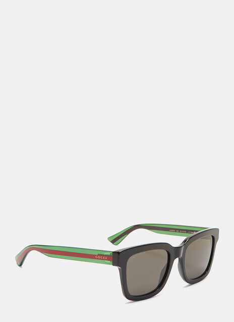 Striped Arm Squared Sunglasses