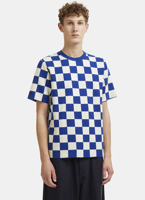 X LN-CC Short Sleeved Checked Knit T-Shirt