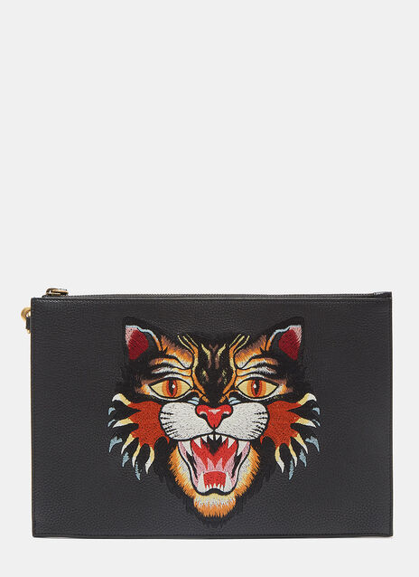 Large Angry Cat Embroidered Leather Pouch