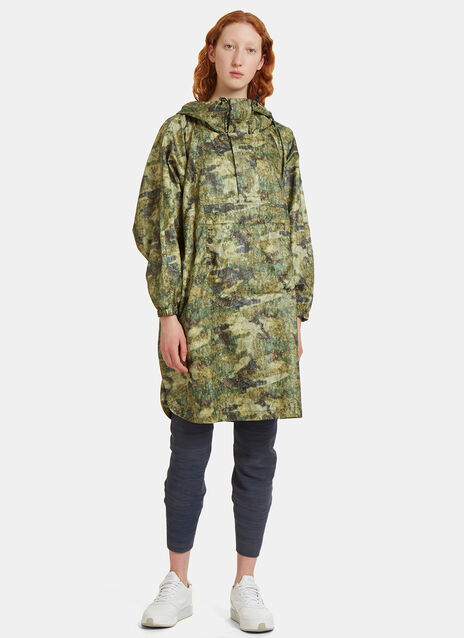 Camo Printed Artwork Poncho Jacket