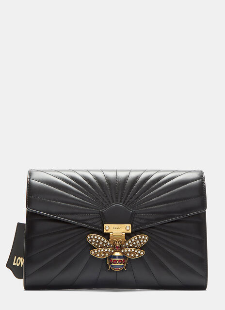 Queen Margaret Bee Motif Matelassé Clutch Bag