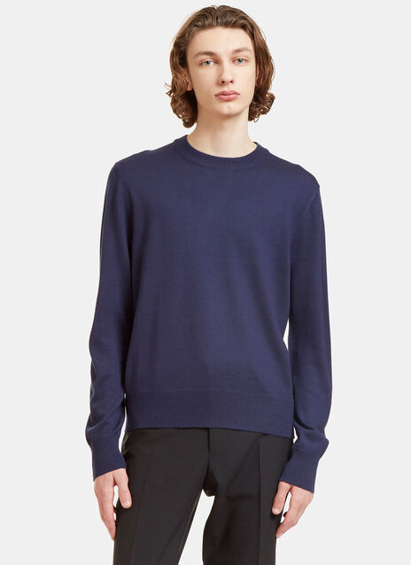 Crew Neck Zipped Knit Sweater