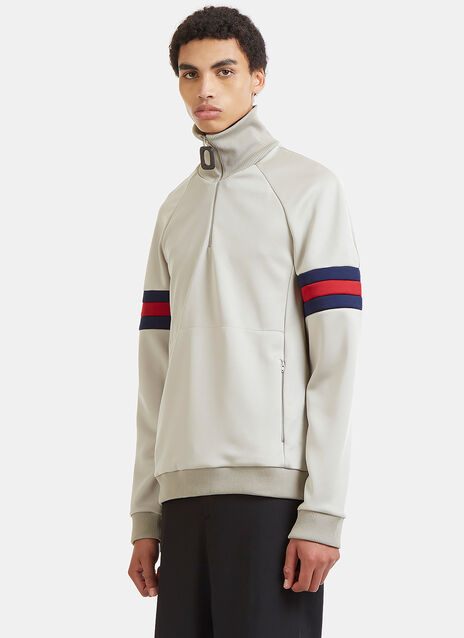 Sports Striped Zip-Up Sweater