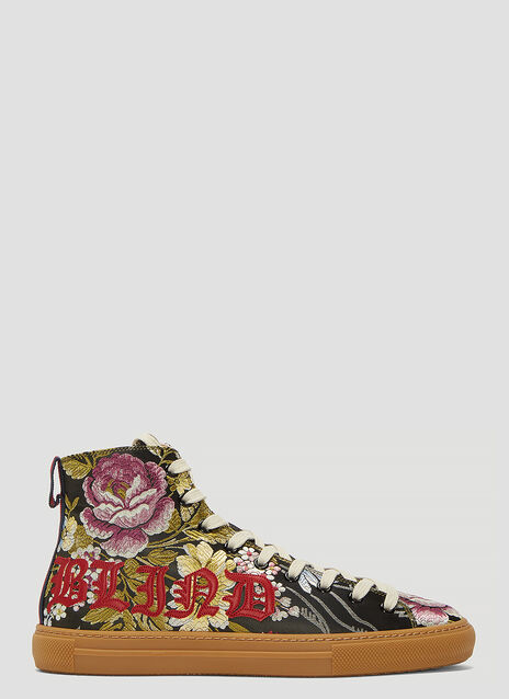 Blind For Love Floral Embroidered High-Top Sneakers