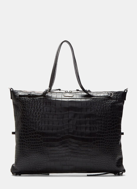 Faux Crocodile Flat Shopper Bag