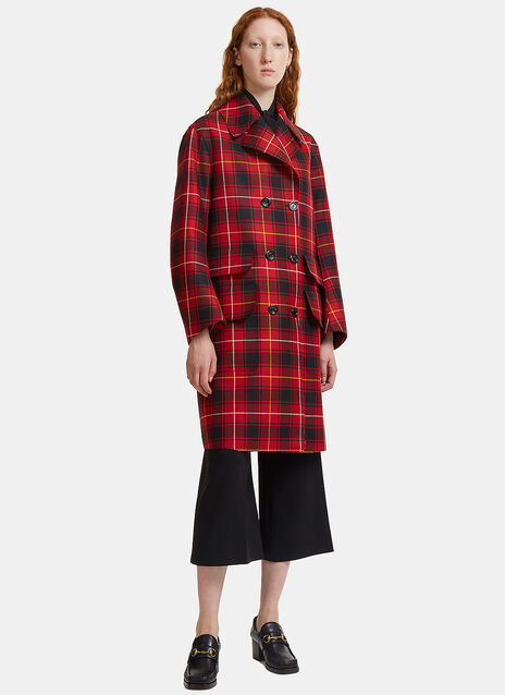 Embroidered Tartan Wool Coat