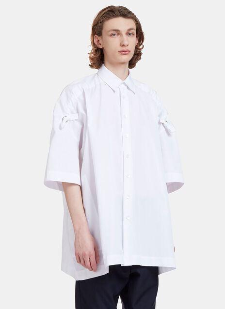 Free Oversized Ruched Shoulder Tie Shirt
