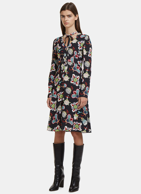 Valentino V-Neck Floral Dress