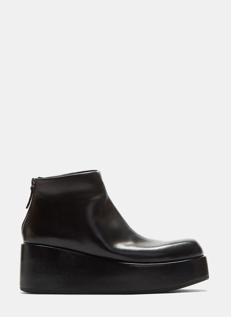 Leather Zipped Platform Boots