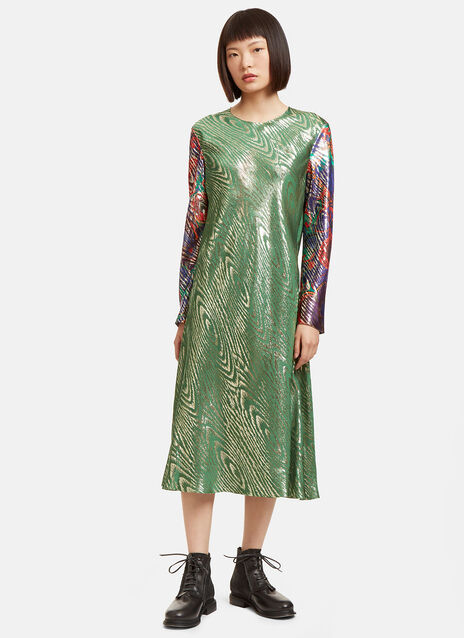 Mid-Length Metallic Jacquard Dress