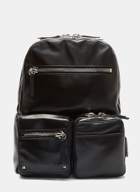 Zipped Cargo Pocket Leather Backpack