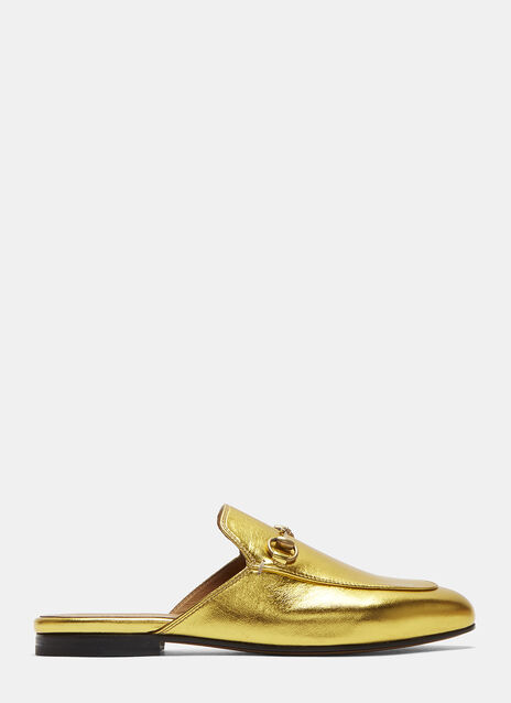 Gucci Princetown Metallic Leather Slipper Shoes