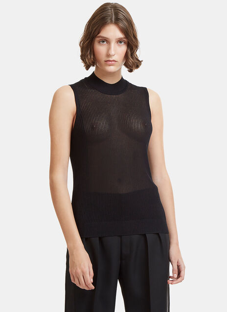 Maison Margiela Ribbed Knit Vest Top