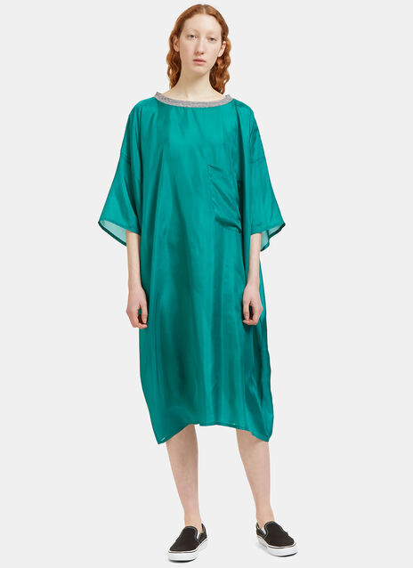 Oversized Patch Pocket Silk T-Shirt Dress