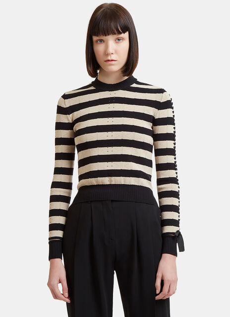 Striped Corset Sleeve Knit Sweater