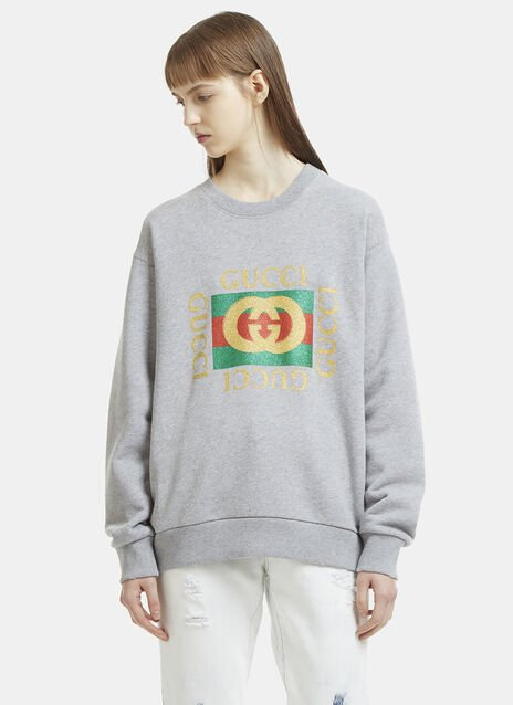Glitter Logo Tiger Patch Sweater