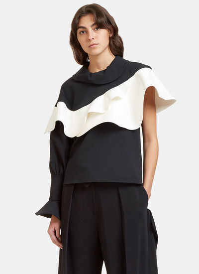 Jellyfish Oversized One Sleeved Frilled Top