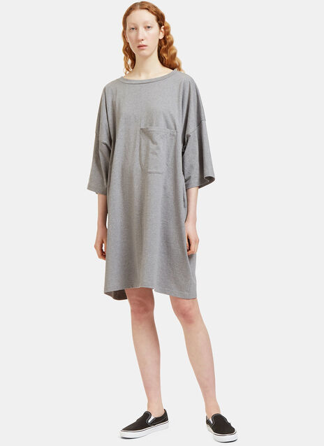 Oversized Patch Pocket T-Shirt Dress