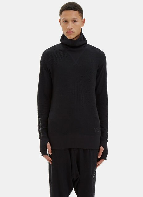 Ribbed Roll Neck Zip-Up Sweater