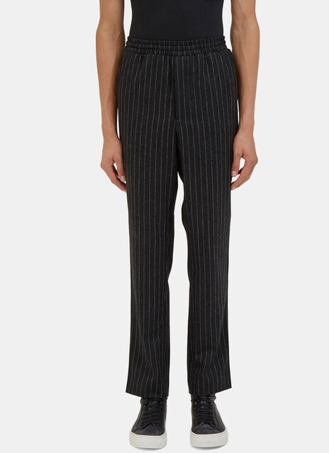 Ami Carrot Cut Felted Wool Pinstripe Pants