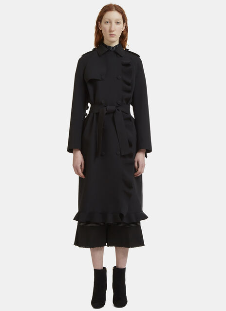 Frilled Double-Breasted Coat