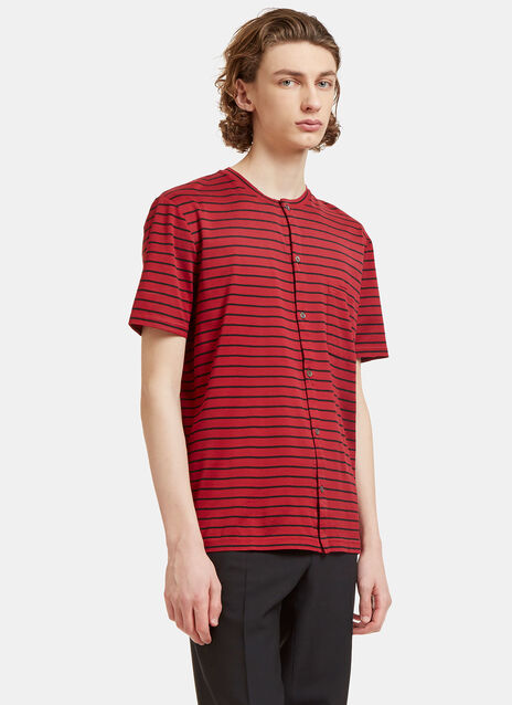 Striped Button-Up T-Shirt