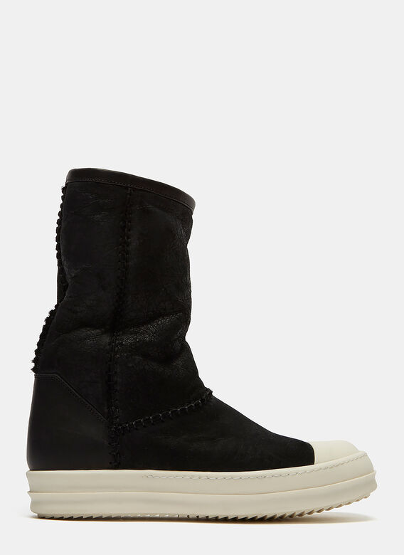 Rick Owens Shearling Suede Sneaker Boots