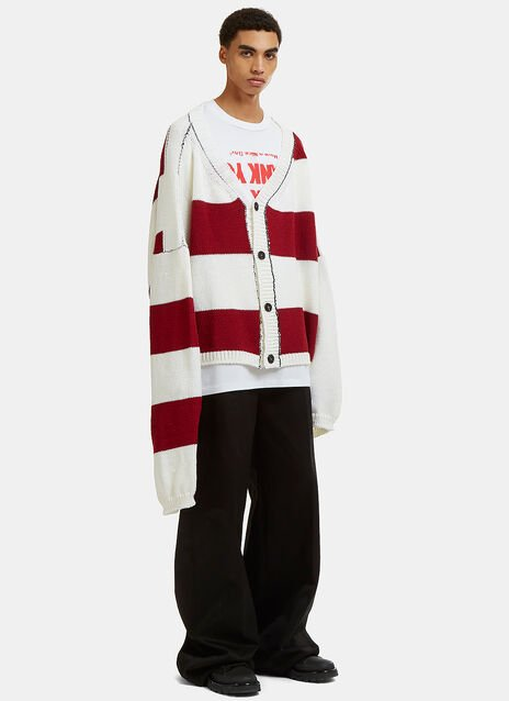Disturbed Striped Knit Cardigan