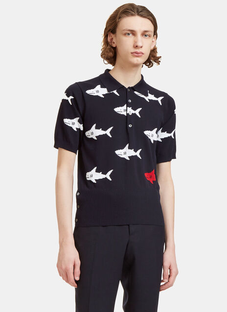 Shark Intarsia Knit Polo Shirt