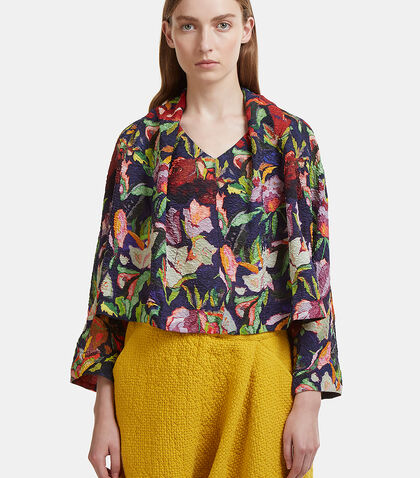 Oversized Cropped Floral Bubble Top