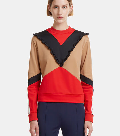 Ruffled Logo Printed Colour-Blocked Sweater