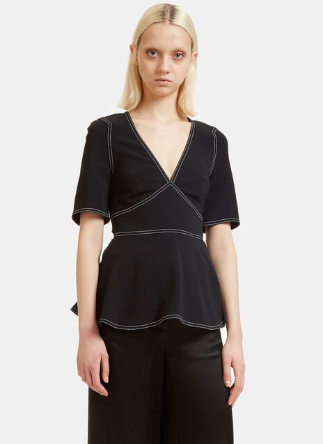 Peplum V-neck Stitched Top