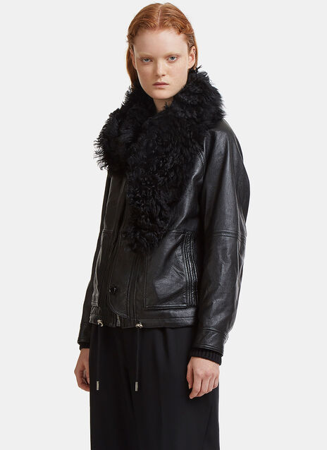 Shearling Stole Raglan Sleeved Leather Jacket