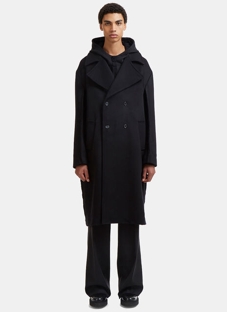 Oversized Double-Breasted Raw Seam Coat