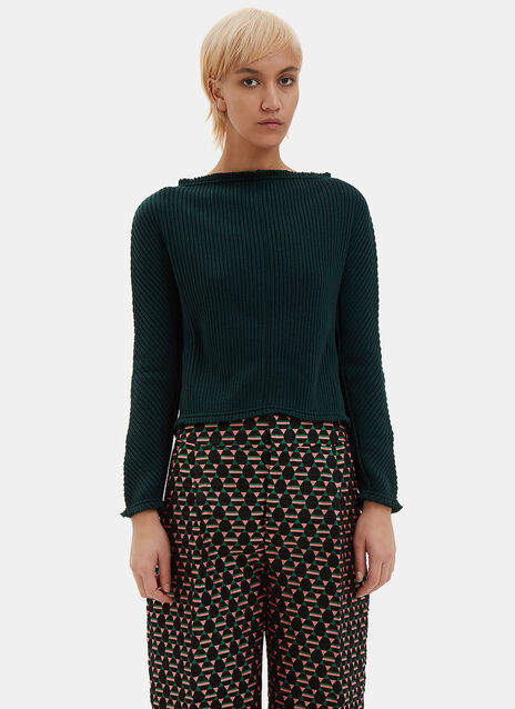 Ribbed Boat Neck Open Back Sweater