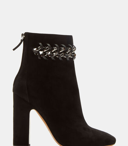 Whip Stitched Chain Suede Ankle Boots