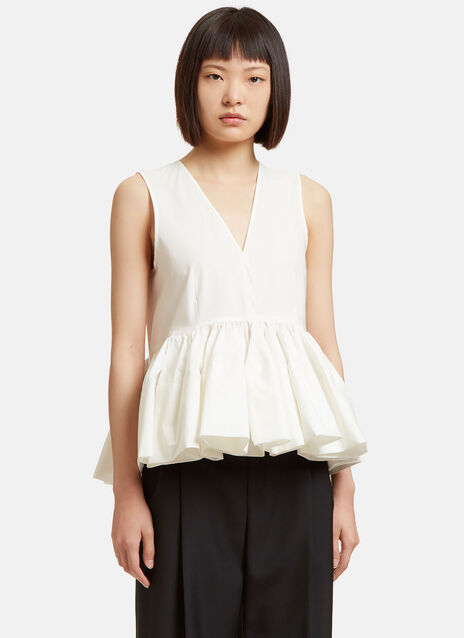 Sleeveless Ruffled Peplum Top