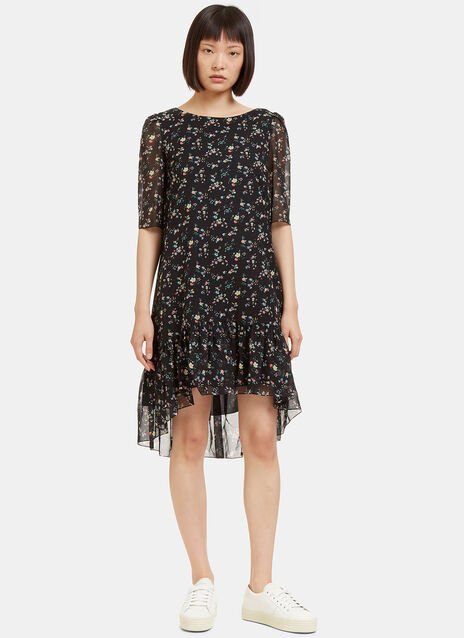 Floral Print Dropped Frill Dress