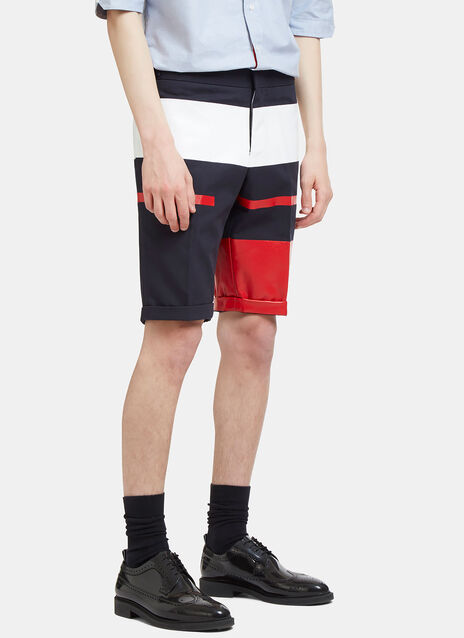 Painted Canvas Striped Shorts