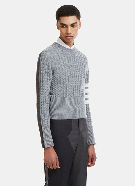 Thom Browne 4 Bar Stripe Armband Pullover