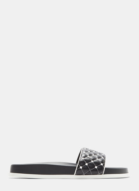 Rockstud Leather Sliders