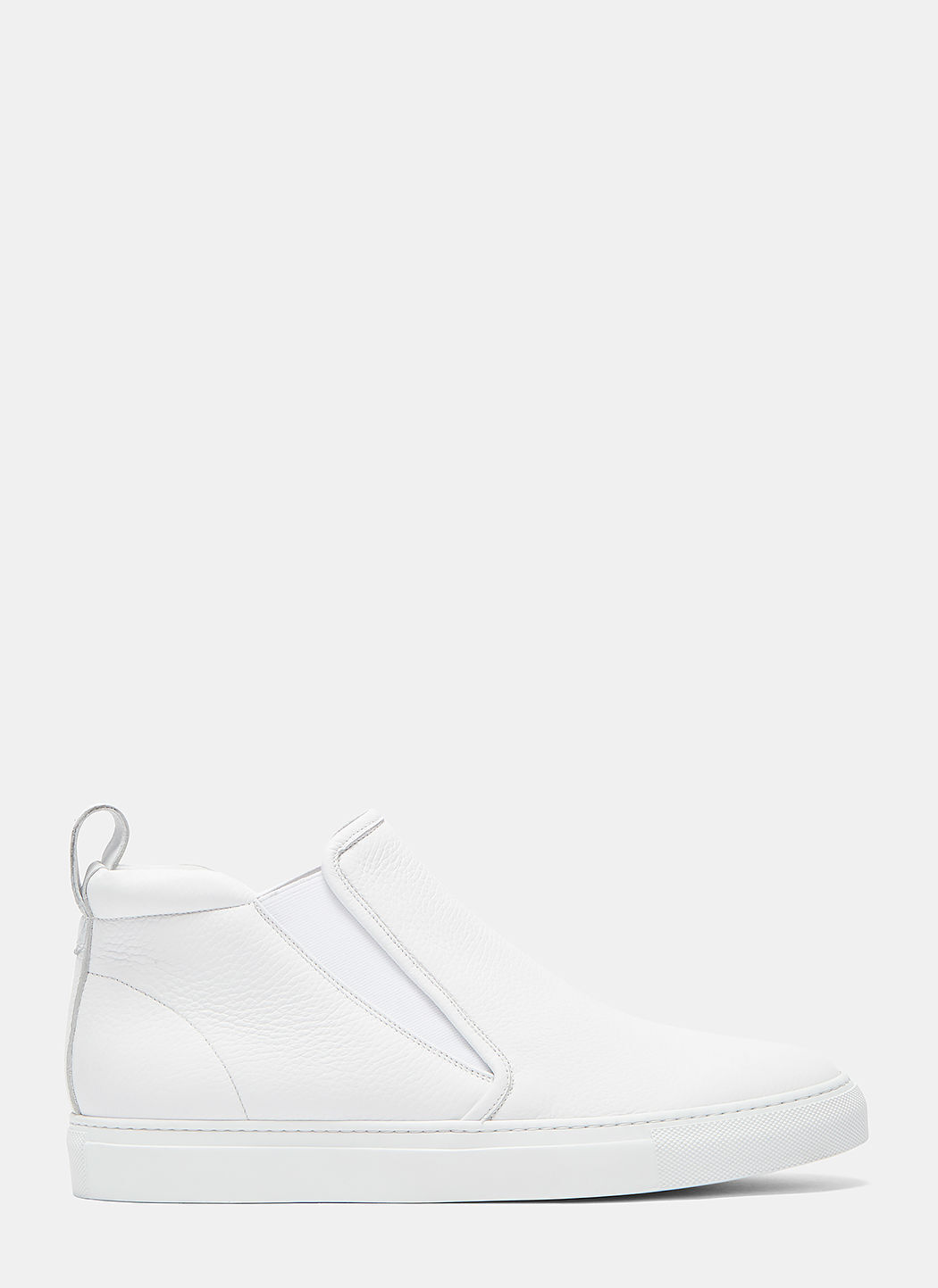 AIEZEN Men's High-Top Slip-On Grained Leather Sneakers in White