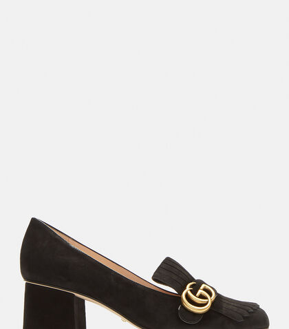 GG Mid-heel fringed Marmont Pumps in Black