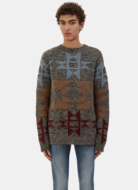 Two-Tone Patterned Cashmere Knit Sweater