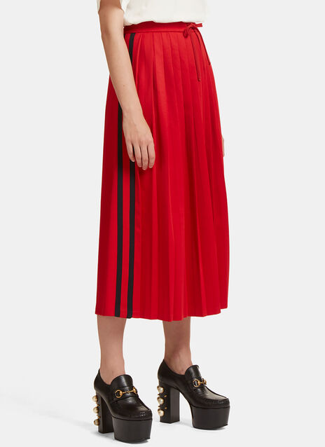 Pleated Striped Web Jersey Skirt